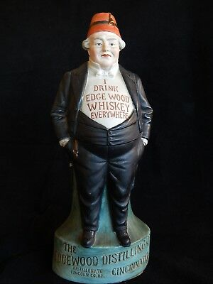 c.1890 Edgewood Whiskey Hand Painted Bisque Fat Man Back Bar Advertising Figure