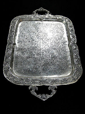 ANTIQUE GREEK GENUINE TRADITIONAL HANDMADE SILVER PLATED SERVING TRAY cir 1915