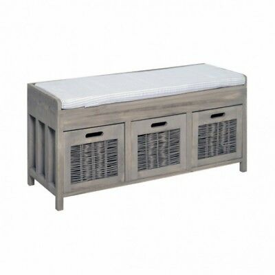 Hallway Storage Bench Seat Wooden Grey Shoe Baskets Drawers Rustic Hall Cabinet