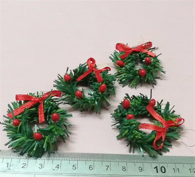 1:12 DollHouse Christmas Garland Decoration With Red Bow DIY Home Decor Gift FG
