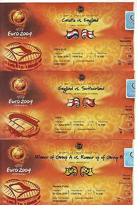 Euro 2004  Set Of Four England Tickets  Excellent