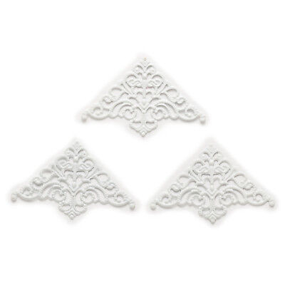 25Pcs Plating White Carved  Book Scrapbooking Decorative Collar Corner 50x32mm