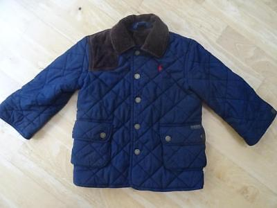 RALPH LAUREN POLO boys navy blue quilted jacket coat AGE 2-3 YEARS 3T