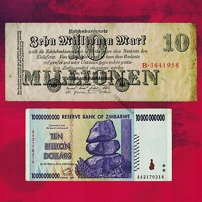 10 Million German Mark 1923 Banknote + 10 Billion Zimbabwe Dollars 2008 Currency