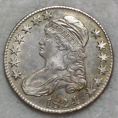 1824 over 4 1824/4 BUST Half Dollar *SILVER* O-110 Variety XF Detailing RARE 50C