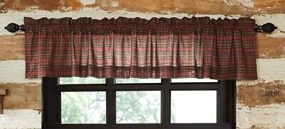 TARTAN RED PLAID Valance Lined Country Plaid Cotton Rustic Cabin Lodge VHC 16x90