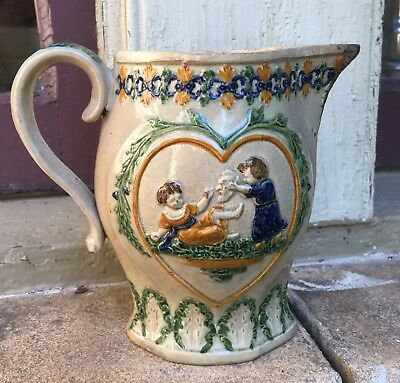 Circa 1800 Prattware Pitcher Mischievous Children