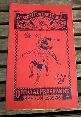 ARSENAL v WOLVES PRE WAR DIV 1 PROGRAMME - NOVEMBER 23rd 1935, GOOD CONDITION