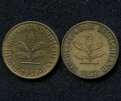 "Germany 1950 ""D""  & 1950 ""F"" 5 Pfennig Coins"