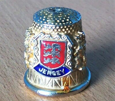 Vintage Brass Thimble - Jersey Coat of Arms