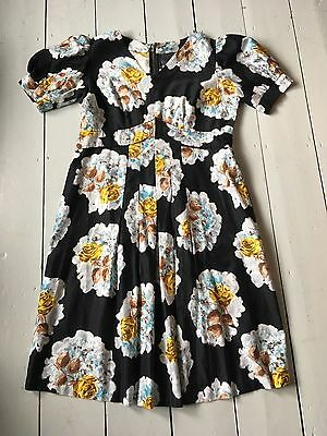 Beautiful Vintage Handmade 1950S Black And Yellow Rose Print Dress - Size M / 14