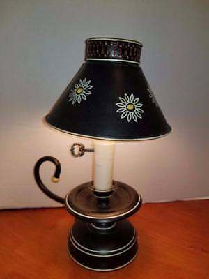 Vintage  Black Daisy Tole Table Lamp