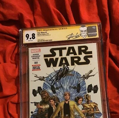 CGC SS 9.8~STAR WARS #1~1st PRINT~SIGNED BY STAN LEE~SKYWALKER LEIA~LAST JEDI~V9