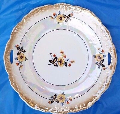 Bavaria Cake Plate Cut out Handles Tray Opalescent Floral Center Outer Vintage