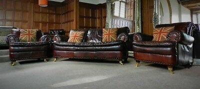 Victorian Style Cigar Brown Leather Chesterfield Suite 3 Seater Sofa Pair Chairs