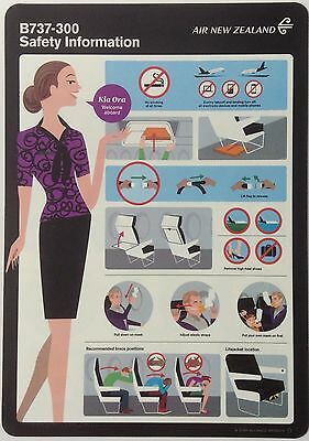Air New Zealand Safety Card 737-300