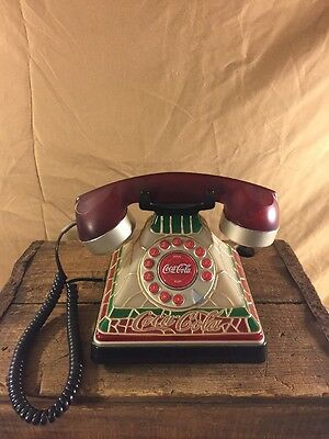 """Coca-Cola  """"2001""""  Tiffany Stained Glass Look Telephone Retired Push Button Euc"""