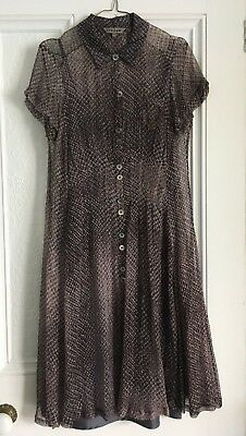 Beautiful Silk Chiffon Jigsaw Shirt Dress - Black / Brown / Grey Print - Size 10