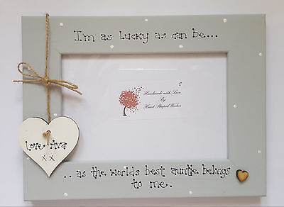"""Personalised Auntie Aunt Niece Nephew """"Lucky as can be"""" Grey  4x6 Photo Frame"""