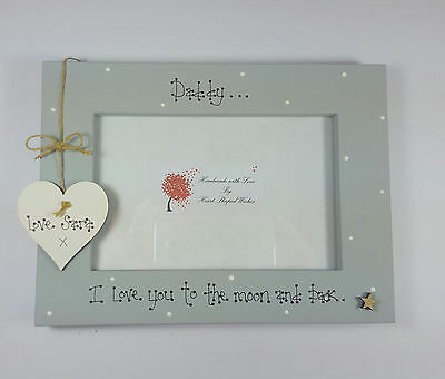 """Personalised Dad Daddy Uncle Brother Birthday """"Moon & Back"""" 4x6 Photo Frame Gift"""