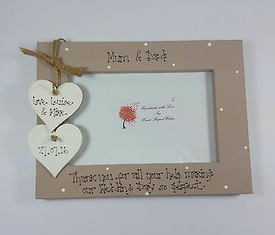 Personalised Wedding Mother Father of the Bride Groom Thank You 4x6 Photo Frame