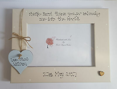"""Personalised Thank You Auntie Midwife """"Welcome To The World"""" 4x6 Photo Frame"""