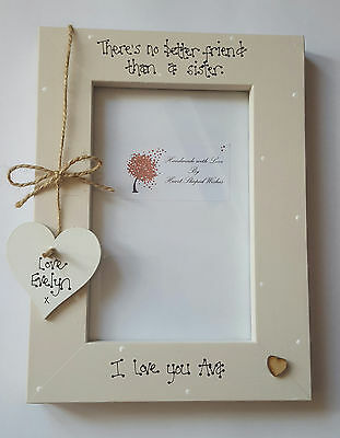 """Personalised Sister Friendship """"No Better Friend"""" Birthday Love 4x6 Photo Frame"""