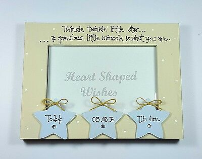 """Personalised New Baby Boy Son Birth Family """"Twinkle Little Star"""" 4x6 Photo Frame"""