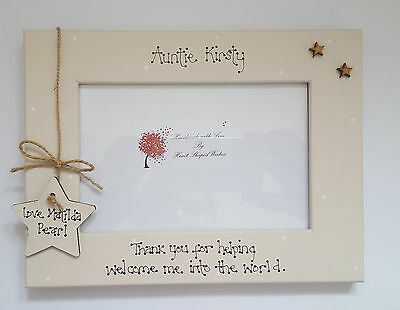 """Personalised Thank You Auntie Midwife Friend """"Welcome Baby"""" 4x6 Photo Frame Gift"""