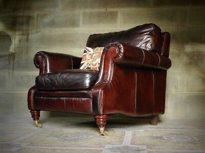 Victorian Style Hand Antiqued Cigar Antique Brown Leather Club Library Armchair