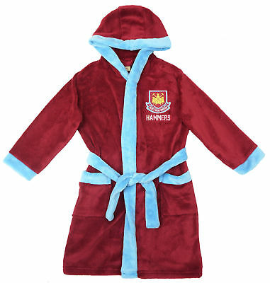 WEST HAM UTD Hooded Dressing Gown Bathrobe Age 3-13 Years ...