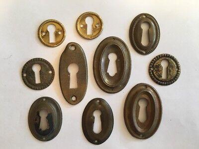 Lot of 10 Vintage Key Hole Covers