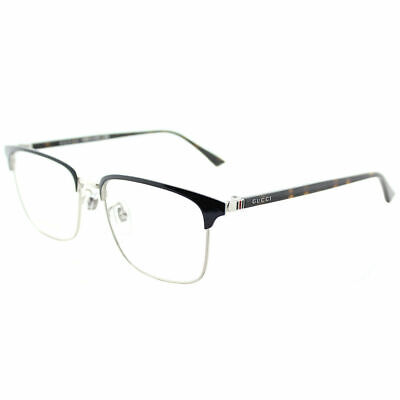 Gucci GG0130O 003 Blue Silver Metal Square Eyeglasses 53mm