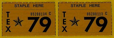 Two 1979 Texas Passenger License Plate Stickers - 2 Unissued 1979 NOS STICKERS