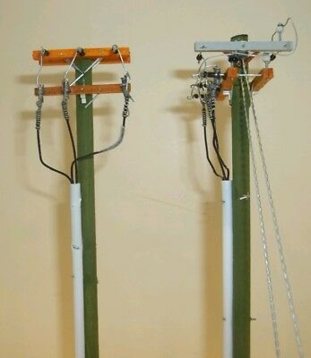 HO SCALE MODEL: 10.4KV Deadend Corner & Deadend Riser Power Poles (2)