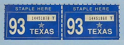 Two 1993 Texas Passenger License Plate Stickers - 2 Unissued 1993 NOS STICKERS