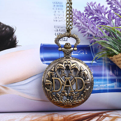 Vintage Retro Bronze DAD Father Hollow Pocket Watch Analog Pendant Necklace Gift