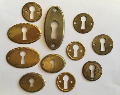 Lot of 11 Vintage Brass Key Hole Covers