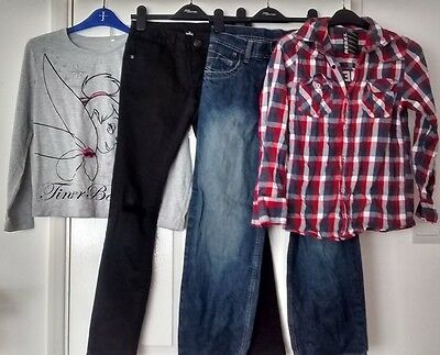 4 items of girls clothing - job lot - 2 tops /  2 jeans  Age 11- 12 Yrs