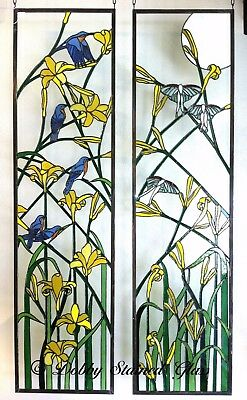 Stained Glass Panels / Sidelites - Daylilies - Handmade