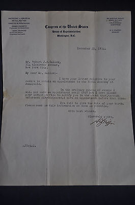 1934 *SIGNED* Anthony J Griffin New York Representative on Letterhead
