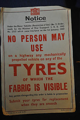 1942 WW2 UK 'No Person May Use Tyres....Visible Fabric' Home Front Poster