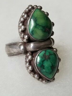 NAVAJO Sterling Silver 2 GREEN TURQUOISE GEMSTONE RING Native American BEADED