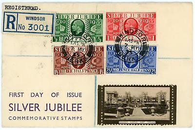 GB 1935 Silver Jubilee RARE illustrated FDC with WINDSOR CDS Cat £800
