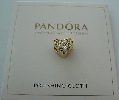 925 Sterling Silver Euro Charm..g/p Heart With White Cz's + Pandora Silver Cloth
