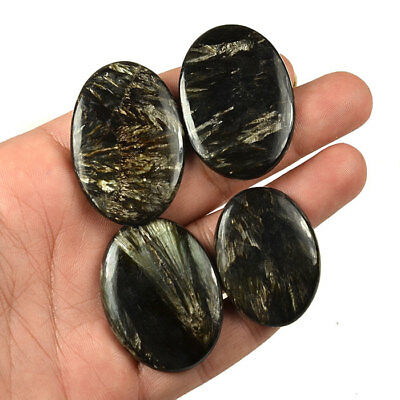 187 Ct/4 Pcs Gorgeous Natural Serpentine Oval Cabochon Gemstones Lot 37 - 44 MM