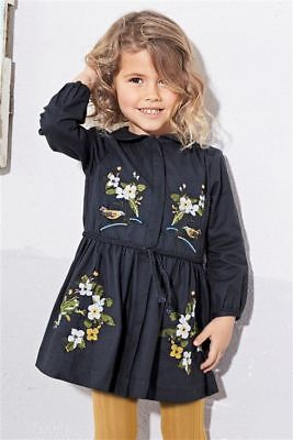 Next S/s 2017 2 Pc Navy Embroidered Dress & Tights Age 1.5 ~ 2 Yrs Bnwt