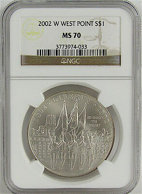 2002-W West Point Uncirculated Commemortive Silver Dollar Ngc Ms70