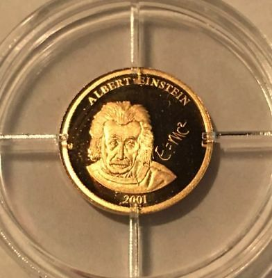 2001 ALBERT EINSTEIN 14 K GOLD ROUND - 0.5 GRAMS - WITH CoA & AIRTIGHT HOLDER