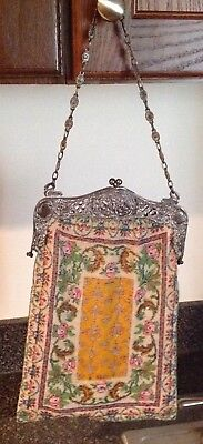 Glass Beaded Frame With French Steel Figural Scenic Purse Large